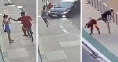 Todo quedó grabado: Hombre se da cuenta del robo a su novia y arrolla al delincuente