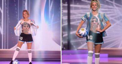 Critican a Osmel Sousa por el traje típico de Miss Argentina en honor a Maradona